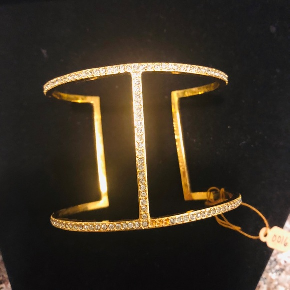1c988a331f1 Vince Camuto Jewelry | Goldtone Crystal Tbar Cuff Bracelet | Poshmark